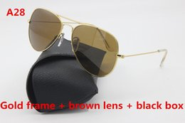 Wholesale Gold Drive - High Quality Pilot Sunglasses Brand Designer Gold Frame 58mm 62mm Black Glass Lens Men's Lady Driving Sunglasses and Boxes