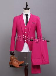 Wholesale Three Piece Dress For Males - (jacket+pants+vest+tie)2017 New Arrival One Button men suit wedding suit for man spring autumn male singer slim fit prom groom dress suit