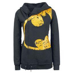 Wholesale Batman Sweatshirt Woman - New Hooded Hoodies Pullover Women Batman Print Hoodies Sweatshirts Female Hooded Jumper Zipper Pocket Tracksuit Tops Jacket Coat