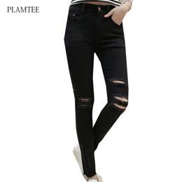 Wholesale Jeans For Women Wholesale - Wholesale- Plus Size Women Jeans 2017 New Fahsion Ripped Hole Slim Pencil Pants Female Black Jeans Femme Casual Spring Trousers for Women