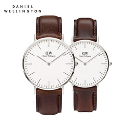 Wholesale Fashion Woman Watches - New 40mm mens Wellington watches men luxury brand aaa watch women 36 fashion watch leather brown black Female Relogio Montre Femme