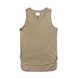 Wholesale wholesale blank tanks - Wholesale- Solid Color Front Short Back Long Hip Hop Tank Top Men 2017 Summer Extended Blank Khaki Men's Tank Top Cotton
