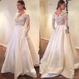 Wholesale Engagement Dresses Sleeves - 2017 Lace Wedding Dress See Through Sexy Bridal Gown Long Sleeves V Neck Engagement Dresses Custom Made Satin A Line With Pocket