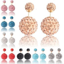 Wholesale Stainless Steel Pave Balls Wholesale - Front and back ball double side earring rhinestone paved mix color imitation gold plating 16mm & 8mm fashion earring jewelry for girls