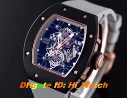 Wholesale Skeleton Watch Brown - Super Clone RM 027 Tourbillon Rafael Nadal Limited Edition Automatic Two Tone Bezel Black Gold Skeleton Dial Mens Watch Gray Rubber Strap