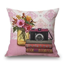 Wholesale Pink Flower Pillow Case - Phone Camera Cushion Cover Flower Pillow Cover Pink and Blue Thin Linen Pillow Cases 45X45cm Kids Favor Bedroom Sofa Decoration