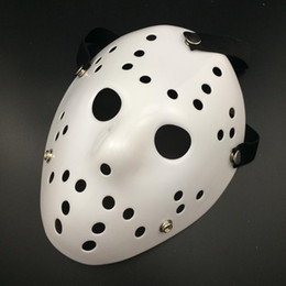Wholesale Movie Costumes For Adults - 2017 Halloween WHite Porous Men Mask Jason Voorhees Freddy Horror Movie Hockey Scary Masks For Party Women Masquerade Costumes