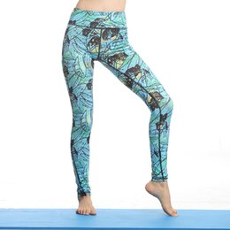 Wholesale Tights Nylons Plus Size - Women yoga outfits quick drying print leaf tight pants S-XL gym fitness trousers sportswear long yoga pants