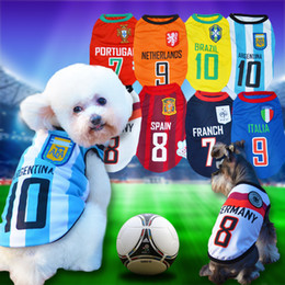Wholesale Dog Football Clothes - New spring summer pet clothing dog clothes T-shirt mesh vest lettering dog Football team uniform soccer jersey 8 colors XS-XXL