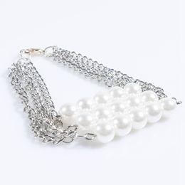 Wholesale Three Metal Bracelet - Luxury Brand Bracelet Three Layers Pearls Chains Bracelets Trendy Punk Style Heavy Metals Bracelet Bangle For Women Party Jewelry
