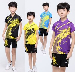 Wholesale China Red Dragon - Li Ning Childrens badminton suit clothes,china dragon kids badminton jersey,lining chilrend badminton table tennis shirts + shorts XS-3XL