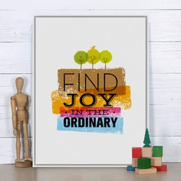 Wholesale Tree Pictures Decorative - Free shipping novelty gift find joy in the ordinary words bird trees pattern home cafe decorative hanging poster photo picture