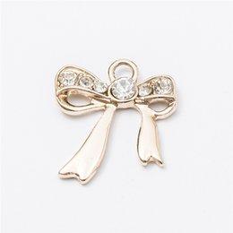 Wholesale Tied Bracelet Necklace - Wholesale 40pcs lot Tie Alloy accessories Kc gold jewelry pendants charms for bracelet necklace DIY jewelry making js028