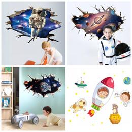 calcomanías de pared de jardín de infantes Rebajas 4 5hy4 Extraíble Universo 3D Pegatinas de Pared Para La Habitación de los Niños Kindergarten Decoración de Fondo del Espacio Paredes Calcomanías Translúcidas