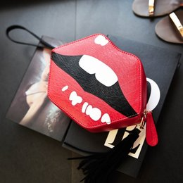 Wholesale Funny Cartoon Bags - Novelty Funny Bag Women Brand Shoulder Bags Luxury Handbag PU Leather Bags Red Lips Clutch Purse Mini Crossbody Sweet Lolita Bag B7061103