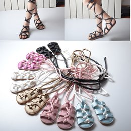 Wholesale Toddler Flats Sale - Baby Girls Sandals Toddler Lace-up Flat Heels Sandals PU Leather Kids Gladiator Shoes Summer Hot Sale