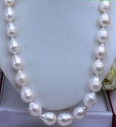 Wholesale 13mm Pearl Necklace - FREE SHIPPING>>HUGE SEA AAA+ 12-13MM WHITE AKOYA BAROQUE PEARL NECKLACE 18 INCH
