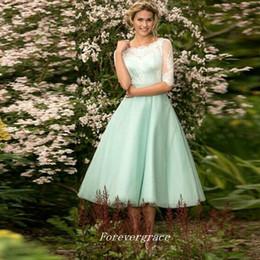 4f9d8d0188 High Quality Cheap Junior Mint Green Bridesmaid Dress Tea-Length Short Maid  of Honor Dress Wedding Guest Gown Custom Made Plus Size