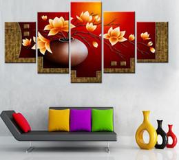 Vasos de pinturas a óleo on-line-5 Peças Pintura A Óleo Da Lona Cuadros Decoracion Imagem Modular de Impressão de Pinturas De Parede Sala de estar Pictures Flower Vase