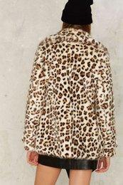 Wholesale Warm Longer Jackets - Unique Bohemian Fashion Leopard Coat Turn Down Collar Long Sleeve Thick Warm For Winter Covered Button Women Leopard Jacket Size s m l