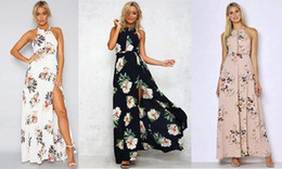 Wholesale Ladies Formal Dresses Wholesale - Summer Backless Floor Length Dress for Women Halter Split Sleeveless Printed Skirt for Ladies Sexy Chiffon Dress for Formal Casual Party