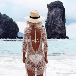 Wholesale Mini Sunscreen - 2017 Europen New Sexy Summer Style Bohemian Lace Backless Cardigan Beach Vacation Long Sleeves Sunscreen Lace Dress Hollow Out Party Dress