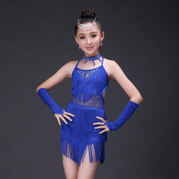 Wholesale Latin Dance Outfits - 2016 Girls Latin Dance Outfits 4Pcs(Dress&HandSleeve&Collar&Shorts) 4Colors Tassel&Rhinestone Backless Salsa Skirt Dance Dress DQ4070