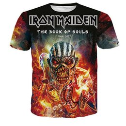 Wholesale Ghosts Books - Men women Casual t shirt IRON MAIDEN printed new fashion THE BOOK OF SOULS TOUR 2017 TOUR WITH GHOST CONCERT Youth short sleeve summer tee