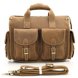 Wholesale 13 Inch Leather Messenger Bag - Mens Genuine Crazy Horse Leather Handbag Messenger Bag Briefcase Single inclined Shoulder Bag 13 inch Laptop Bag Brown Color 7106B