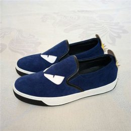 Wholesale Mens Blue Casual Loafer Shoes - brand mens shoes 3 color monster eyes first layer real leather casual loafer 38-45