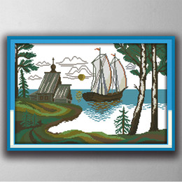 Wholesale Diy Canvas Painting Set - Spread the sail scenery sea boat painting 11CT Counted Printed on canvas DMC 14CT diy Cross Stitch Needlework Kit Embroidery Set