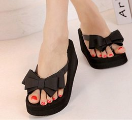 Wholesale Black Sandal Wedges - AUAU Ladies Summer Platform Flip Flops Thong Wedge Beach Sandals Knot Bow Shoes
