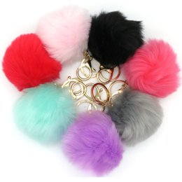 Wholesale Fake Gold Chains - 20Pcs Lot 20 Colors 8cm Fake Fur Pompon Plush Keychain Fluffy Key Chain Pom Pom for Car Keyring