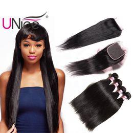 UNice Hair Virgin Straight 3 Bundles con cierre Free Part Peruvian Straight Mix Length Extensiones de cabello humano Remy Hair Trays desde fabricantes