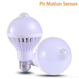 Wholesale 5w Infrared - PIR Motion Sensor E27 Lamp 5W 7W 9W Auto Smart Led Bulb E27 Automatic Bombilla PIR Infrared Body Lamp The Motion Sensor Lights 220V