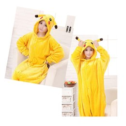 Wholesale Cosplay Game Models - cosplay Pikachu New Winter Flannel Toilet Cartoon One Piece Pajamas Cute Female Couple Models Men's Pajamas DHL Free
