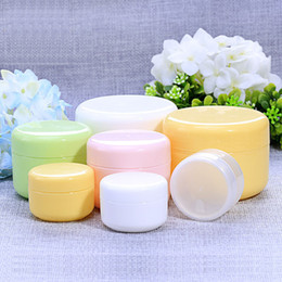 Wholesale Cosmetic Jar Pp Bottle - 10 20 50 100Gram Plastic Jar Bottle Candy Color PP Cosmetic Sample Eyeshadow Lip Balm Container Nail Art Piece Glitter Bottle