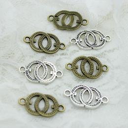 Wholesale Bracelets Connectors Charm Heart - Sweet Bell (Min order 60 pieces) 14*25mm two color Metal Alloy two circles Jewelry Connectors Charms for Bracelet Making D0482