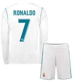 Wholesale Quality Soccer Kits - 17 18 Real Madrids Home Away Full Sleeve Soccer Jersey Ronaldo ASENSIO Thai Quality Football Uniform Men's Long Sleeve Soccer Set Sports Kit