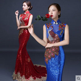 Wholesale New Arrivals Cheongsam - New Arrival Evening Dress Chinese Style In Cheongsam Mermaid Sheath High Collar Lace-up Back Court Train Vintage Unique Sequin Runway Dress