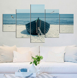 Wholesale Boats Frames - Fish boat on the beach Frameless Paintings 5pcs (No Frame)