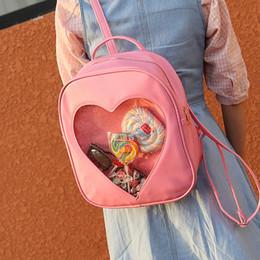 Wholesale Heart Shape Love Phone - Wholesale- RU&BR New Casual Summer Candy Transparent Love Heart Shape Backpacks School Mini Backpacks Shoulders Bags For Teenager Girls