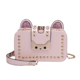 Wholesale Polyester Cost - 2017 new Korean version of the women's rivets Messenger bag sprouts kitten shoulder bag chain package low-cost sale