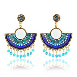 Wholesale Turquoise Rhinestone Flower Earrings - Fashion Boho Earrings For Women Jewelry Ethnic Big Sector Tassel Beads Charm Stud Earrings Statement Jewelry