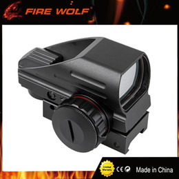 Wholesale Rifle Scope Holographic - FIRE WOLF 4 Reticle Tactical Reflex Red Green Laser Holographic Projected Dot Sight Scope Airgun Rifle Sight Hunting Rail Mount
