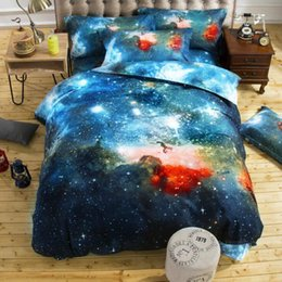 Wholesale Double Comforter Sets - Wholesale 3d Galaxy Duvet Cover Set Single double Twin Queen 4pcs bedding sets Universe Outer Space Themed Bed Linen Free Shipping