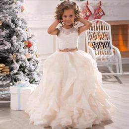 Wholesale Vintage Girls Skirts - Lovely Flower Girl Dresses for Wedding 2017 New Vintage Lace Top Ruffles Organza Skirt First Girls Communion Dresses Cute Kids Party Gowns