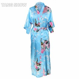 e9f5aa195c Chinese Wholesale- Long Style Blue Plus Size XXXL Ladies  039  Robe Gown  Novelty