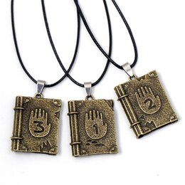 Wholesale White Diary - Fashion Gravity Falls Journal 3 Bronze Dipper Diary Necklaces & Pendants Alloy Keychain Jewelry Vintage Necklace Unisex