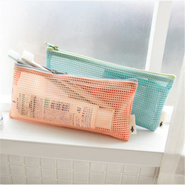Wholesale Cosmetic Storage Transparent - reticular toiletry bag Transparent Organizer bags Cosmetic Bags Makeup Travel Waterproof Toiletry Wash Bathing Storage bags
